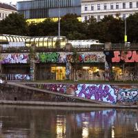 Graffiti art along Danube's riverside